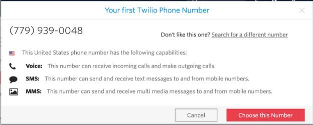 When you click on this you will see default provided number by Twilio
